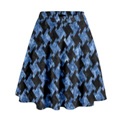 Houndstooth2 Black Marble & Blue Marble High Waist Skirt