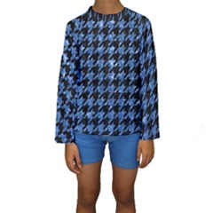 HTH1 BK-BL MARBLE Kid s Long Sleeve Swimwear