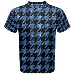 Houndstooth1 Black Marble & Blue Marble Men s Cotton Tee