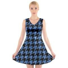 HTH1 BK-BL MARBLE V-Neck Sleeveless Skater Dress