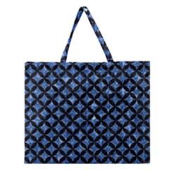 CIR3 BK-BL MARBLE (R) Zipper Large Tote Bag