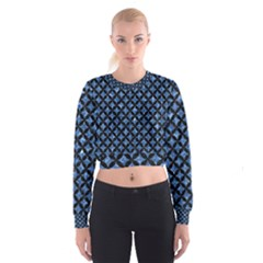 Circles3 Black Marble & Blue Marble (r) Cropped Sweatshirt