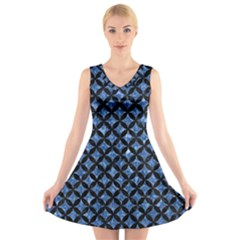 CIR3 BK-BL MARBLE (R) V-Neck Sleeveless Skater Dress