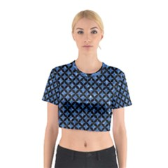 Circles3 Black Marble & Blue Marble (r) Cotton Crop Top