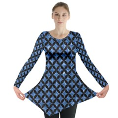 Circles3 Black Marble & Blue Marble (r) Long Sleeve Tunic