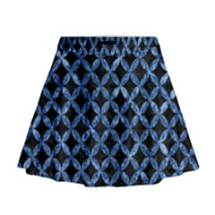 Circles3 Black Marble & Blue Marble Mini Flare Skirt