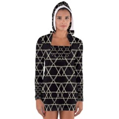 Star Of David   Women s Long Sleeve Hooded T-shirt