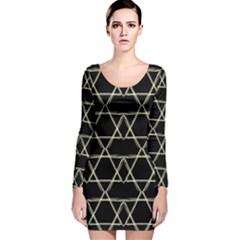 Star Of David   Long Sleeve Velvet Bodycon Dress