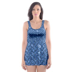 Brick2 Black Marble & Blue Marble (r) Skater Dress Swimsuit