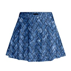 Brick2 Black Marble & Blue Marble (r) Mini Flare Skirt