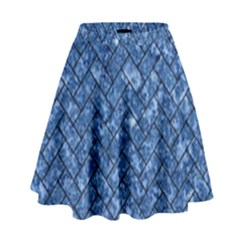 Brick2 Black Marble & Blue Marble (r) High Waist Skirt