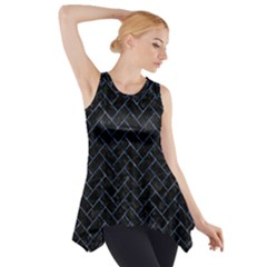 Brick2 Black Marble & Blue Marble Side Drop Tank Tunic