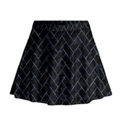 Brick2 Black Marble & Blue Marble Mini Flare Skirt