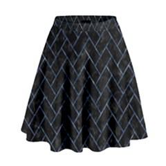 Brick2 Black Marble & Blue Marble High Waist Skirt