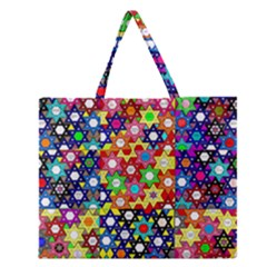Star Of David Zipper Large Tote Bag