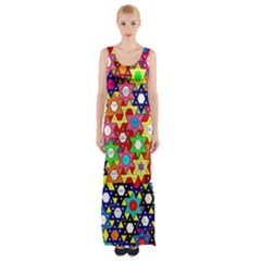 Star Of David Maxi Thigh Split Dress