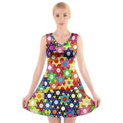 Star Of David V-Neck Sleeveless Skater Dress