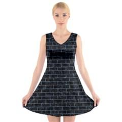 BRK1 BK-BL MARBLE V-Neck Sleeveless Skater Dress