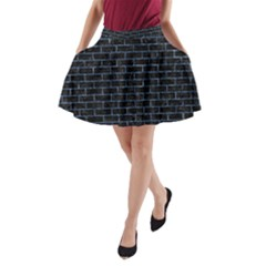 Brick1 Black Marble & Blue Marble A Line Pocket Skirt