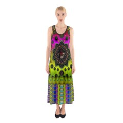 Stars A Dove A  Woodo Stratocaster In Peace And Leather Full Print Maxi Dress