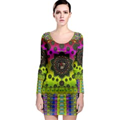Stars A Dove A  Woodo Stratocaster In Peace And Leather Long Sleeve Bodycon Dress