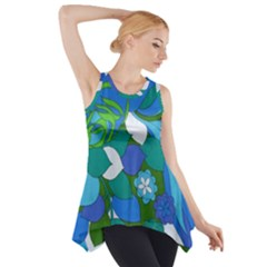 60s Blue Floral Side Drop Tank Tunic