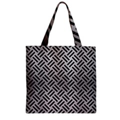 Woven2 Black Marble & Silver Brushed Metal (r) Zipper Grocery Tote Bag