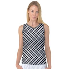 Woven2 Black Marble & Silver Brushed Metal (r) Women s Basketball Tank Top