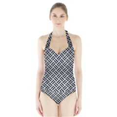 Woven2 Black Marble & Silver Brushed Metal (r) Halter Swimsuit