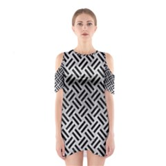 Woven2 Black Marble & Silver Brushed Metal (r) Shoulder Cutout One Piece
