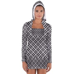 Woven2 Black Marble & Silver Brushed Metal (r) Long Sleeve Hooded T Shirt