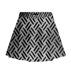 Woven2 Black Marble & Silver Brushed Metal (r) Mini Flare Skirt