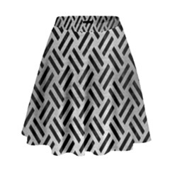 Woven2 Black Marble & Silver Brushed Metal (r) High Waist Skirt