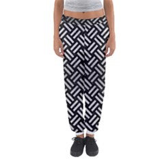 Woven2 Black Marble & Silver Brushed Metal Women s Jogger Sweatpants