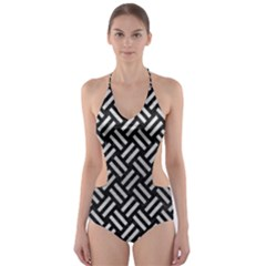 Woven2 Black Marble & Silver Brushed Metal Cut Out One Piece Swimsuit