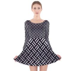WOV2 BK MARBLE SILVER Long Sleeve Velvet Skater Dress