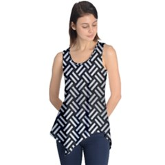 Woven2 Black Marble & Silver Brushed Metal Sleeveless Tunic