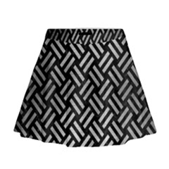 Woven2 Black Marble & Silver Brushed Metal Mini Flare Skirt