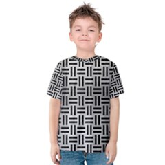 Woven1 Black Marble & Silver Brushed Metal (r) Kids  Cotton Tee