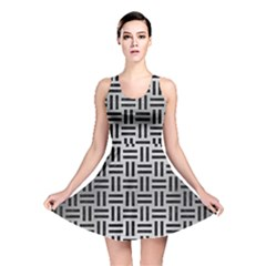 Woven1 Black Marble & Silver Brushed Metal (r) Reversible Skater Dress