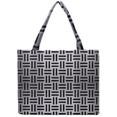 Woven1 Black Marble & Silver Brushed Metal (r) Mini Tote Bag