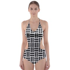 WOV1 BK MARBLE SILVER (R) Cut-Out One Piece Swimsuit