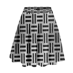 Woven1 Black Marble & Silver Brushed Metal (r) High Waist Skirt