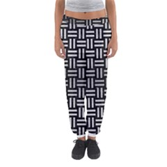Woven1 Black Marble & Silver Brushed Metal Women s Jogger Sweatpants