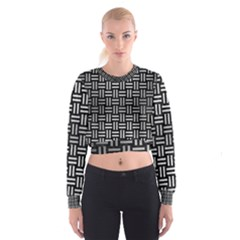 Woven1 Black Marble & Silver Brushed Metal Cropped Sweatshirt