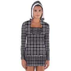 Woven1 Black Marble & Silver Brushed Metal Long Sleeve Hooded T Shirt