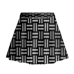 Woven1 Black Marble & Silver Brushed Metal Mini Flare Skirt
