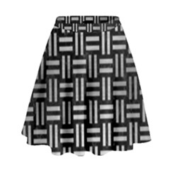 Woven1 Black Marble & Silver Brushed Metal High Waist Skirt