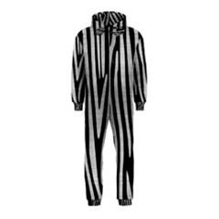 Skin4 Black Marble & Silver Brushed Metal (r) Hooded Jumpsuit (kids)