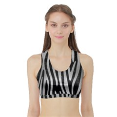 Skin4 Black Marble & Silver Brushed Metal (r) Sports Bra With Border